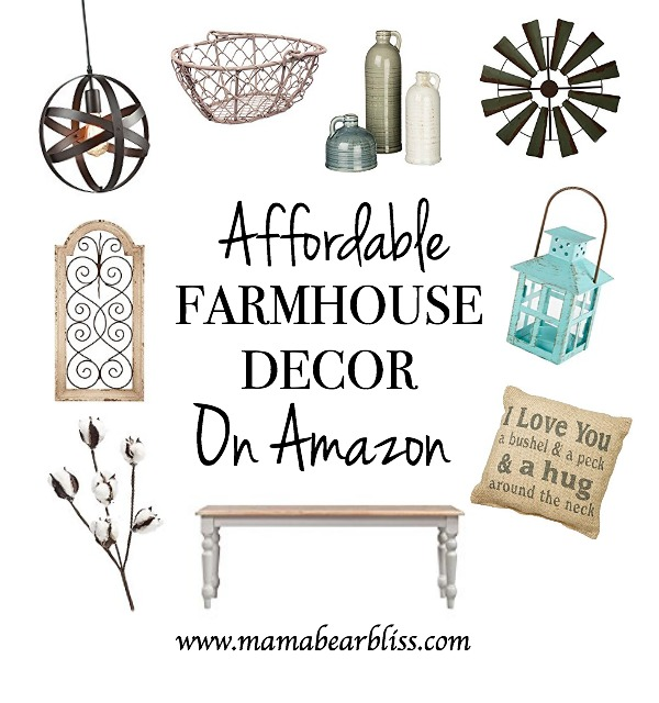 Affordable Farmhouse Decor on Amazon - Decorate your home with beautiful Farmhouse Decor on a Budget | www.mamabearbliss.com