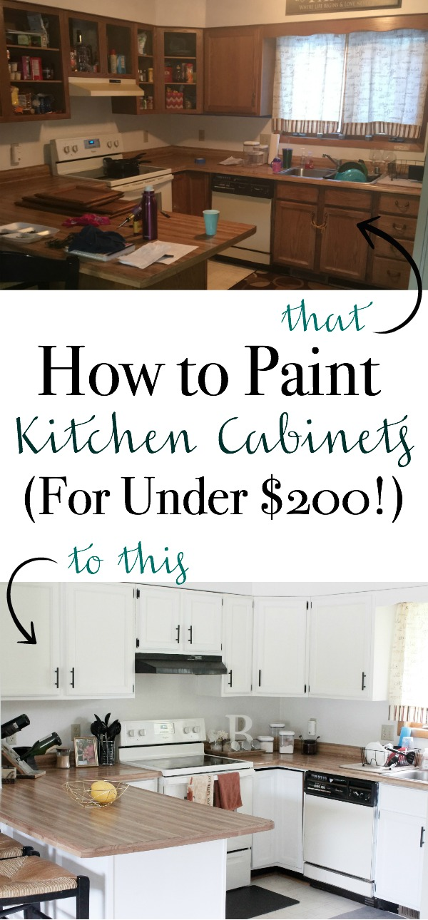 Want to paint your kitchen cupboards, but don't want to spend a fortune for it? Here's How to Paint Kitchen Cabinets (For Under $200!) | www.mamabearbliss.com