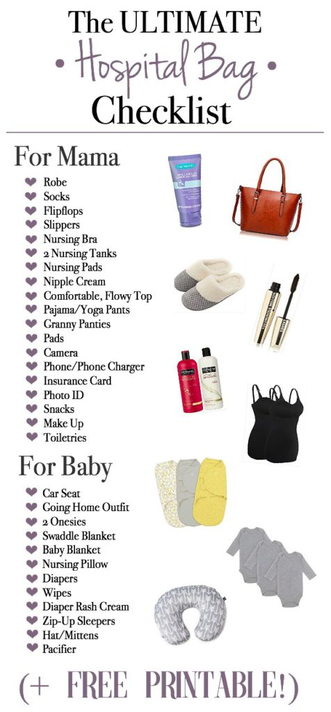 The Ultimate Hospital Bag Checklist Free Printable Helping You Pack Your