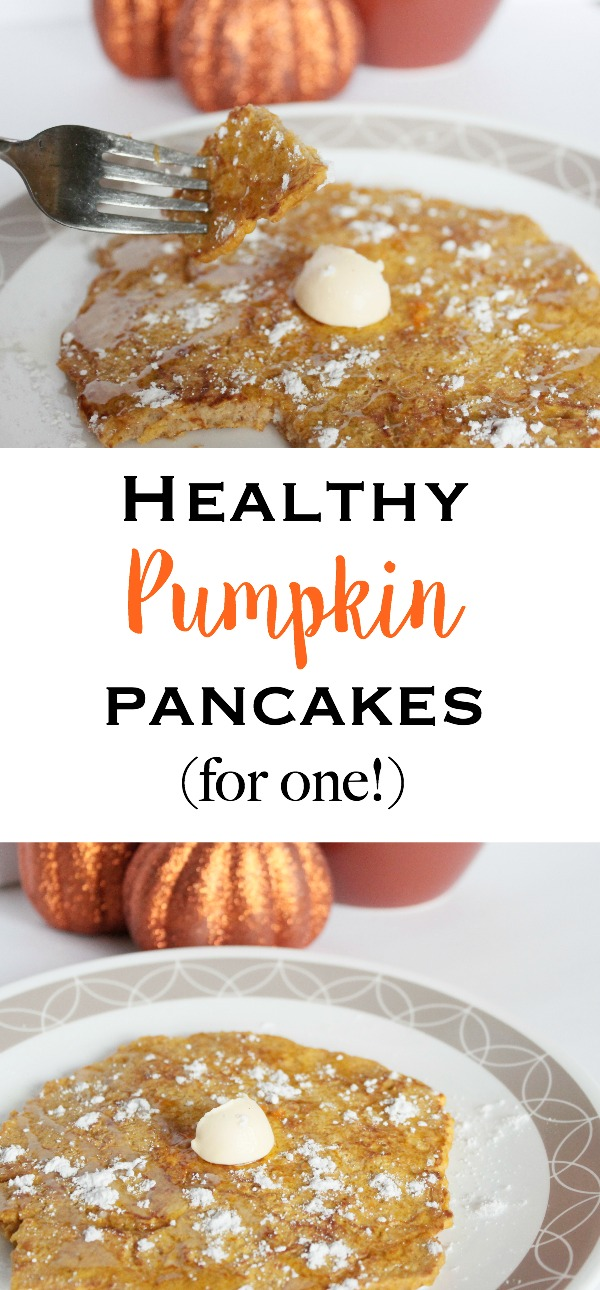 Healthy Pumpkin Pancakes For One - Quick, easy, delicious, and clean eating pancakes made to serve one person!   www.mamabearbliss.com