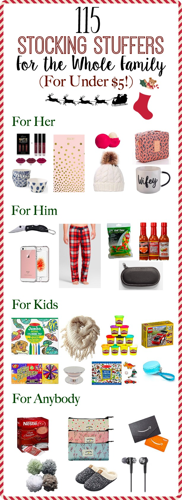 115 Stocking Stuffers For the Whole Family (For Under $5!) | Cheap stocking stuffer ideas for men, women, kids, and anybody else | www.mamabearbliss.com